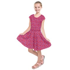 Red White And Blue Leopard Print  Kids  Short Sleeve Dress by PhotoNOLA