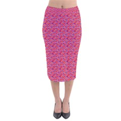 Red White And Blue Leopard Print  Velvet Midi Pencil Skirt by PhotoNOLA