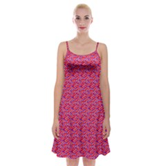 Red White And Blue Leopard Print  Spaghetti Strap Velvet Dress by PhotoNOLA