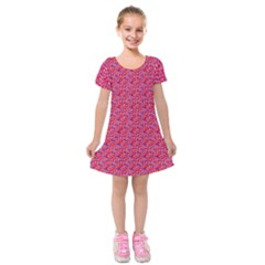 Red White And Blue Leopard Print  Kids  Short Sleeve Velvet Dress by PhotoNOLA