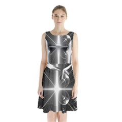 Black And White Bubbles On Black Sleeveless Chiffon Waist Tie Dress by Simbadda