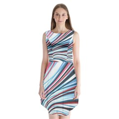 Wavy Stripes Background Sleeveless Chiffon Dress   by Simbadda
