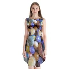 Rock Tumbler Used To Polish A Collection Of Small Colorful Pebbles Sleeveless Chiffon Dress   by Simbadda
