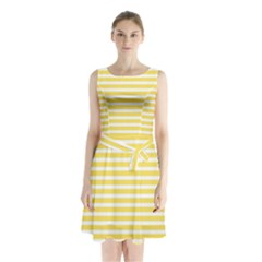 Horizontal Stripes Yellow Sleeveless Chiffon Waist Tie Dress by Mariart