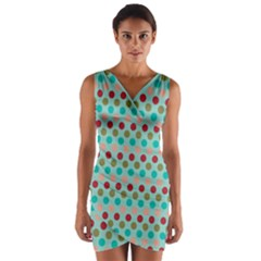 Large Colored Polka Dots Line Circle Wrap Front Bodycon Dress by Mariart