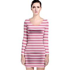Horizontal Stripes Light Pink Long Sleeve Bodycon Dress by Mariart