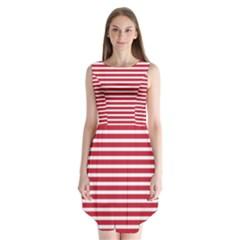 Horizontal Stripes Red Sleeveless Chiffon Dress   by Mariart