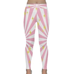 Hurak Pink Star Yellow Hole Sunlight Light Classic Yoga Leggings by Mariart