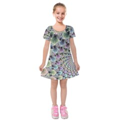Beautiful Image Fractal Vortex Kids  Short Sleeve Velvet Dress by Simbadda