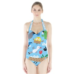 New Zealand Birds Close Fly Animals Halter Swimsuit by Mariart