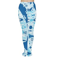 New Zealand Fish Detail Blue Sea Shark Women s Tights by Mariart