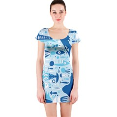 New Zealand Fish Detail Blue Sea Shark Short Sleeve Bodycon Dress by Mariart