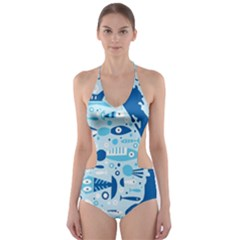 New Zealand Fish Detail Blue Sea Shark Cut Out One Piece Swimsuit by Mariart