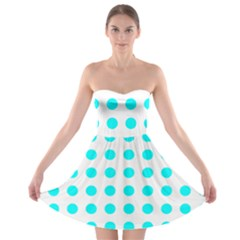 Polka Dot Blue White Strapless Bra Top Dress by Mariart