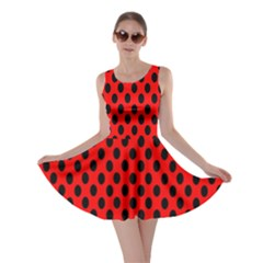 Polka Dot Black Red Hole Backgrounds Skater Dress by Mariart