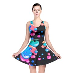 Neon Paint Splatter Background Club Reversible Skater Dress by Mariart