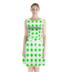 Polka Dot Green Sleeveless Chiffon Waist Tie Dress by Mariart