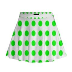 Polka Dot Green Mini Flare Skirt by Mariart