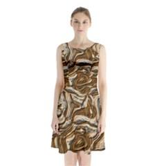 Fractal Background Mud Flow Sleeveless Chiffon Waist Tie Dress by Simbadda