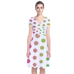 Polka Dot Pink Green Blue Short Sleeve Front Wrap Dress by Mariart