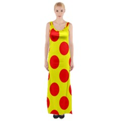 Polka Dot Red Yellow Maxi Thigh Split Dress by Mariart