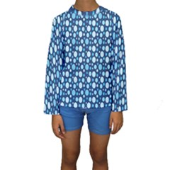 Polka Dot Blue Kids  Long Sleeve Swimwear by Mariart