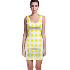 Polka Dot Yellow White Sleeveless Bodycon Dress by Mariart