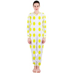 Polka Dot Yellow White Onepiece Jumpsuit (ladies)  by Mariart