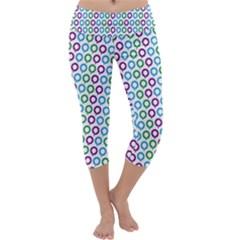 Polka Dot Like Circle Purple Blue Green Capri Yoga Leggings by Mariart