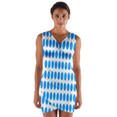Polka Dots Blue White Wrap Front Bodycon Dress by Mariart