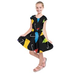 Rain Shoe Boots Blue Yellow Pink Orange Black Umbrella Kids  Short Sleeve Dress by Mariart