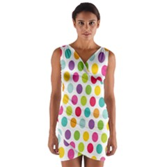 Polka Dot Yellow Green Blue Pink Purple Red Rainbow Color Wrap Front Bodycon Dress by Mariart
