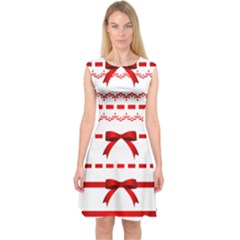 Ribbon Red Line Capsleeve Midi Dress by Mariart