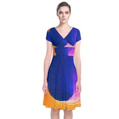 Wave Waves Chefron Color Blue Pink Orange White Red Purple Short Sleeve Front Wrap Dress by Mariart