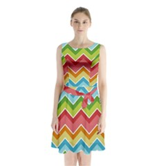 Colorful Background Of Chevrons Zigzag Pattern Sleeveless Chiffon Waist Tie Dress by Simbadda