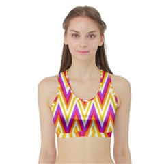Colorful Chevrons Zigzag Pattern Seamless Sports Bra With Border by Simbadda