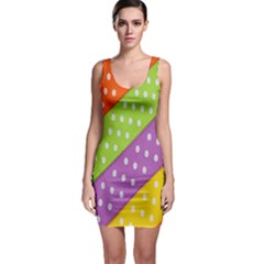Colorful Easter Ribbon Background Sleeveless Bodycon Dress by Simbadda