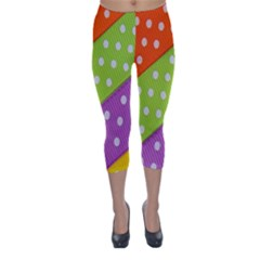 Colorful Easter Ribbon Background Capri Winter Leggings  by Simbadda