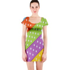 Colorful Easter Ribbon Background Short Sleeve Bodycon Dress by Simbadda