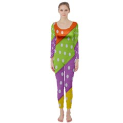 Colorful Easter Ribbon Background Long Sleeve Catsuit by Simbadda