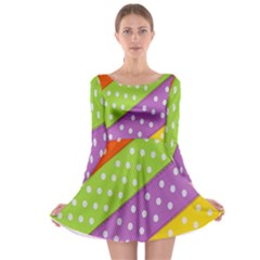Colorful Easter Ribbon Background Long Sleeve Skater Dress