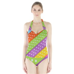 Colorful Easter Ribbon Background Halter Swimsuit by Simbadda