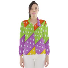 Colorful Easter Ribbon Background Wind Breaker (women) by Simbadda