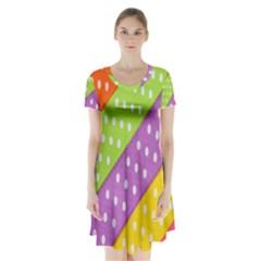 Colorful Easter Ribbon Background Short Sleeve V-neck Flare Dress by Simbadda