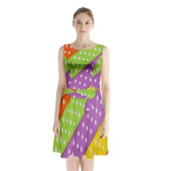 Colorful Easter Ribbon Background Sleeveless Chiffon Waist Tie Dress by Simbadda