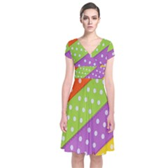 Colorful Easter Ribbon Background Short Sleeve Front Wrap Dress by Simbadda