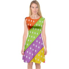 Colorful Easter Ribbon Background Capsleeve Midi Dress by Simbadda