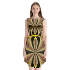Fractal Yellow Butterfly In 3d Glass Frame Sleeveless Chiffon Dress   by Simbadda