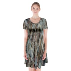 Abstract Chinese Background Created From Building Kaleidoscope Short Sleeve V Neck Flare Dress by Simbadda