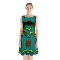 A Colorful Modern Illustration Sleeveless Chiffon Waist Tie Dress by Simbadda